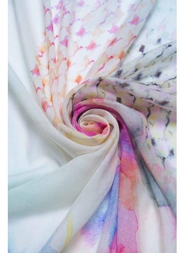 Silk and Cashmere İpek Karişimli Jas Çiçek Baskili Şal 70X180 Cm Pembe